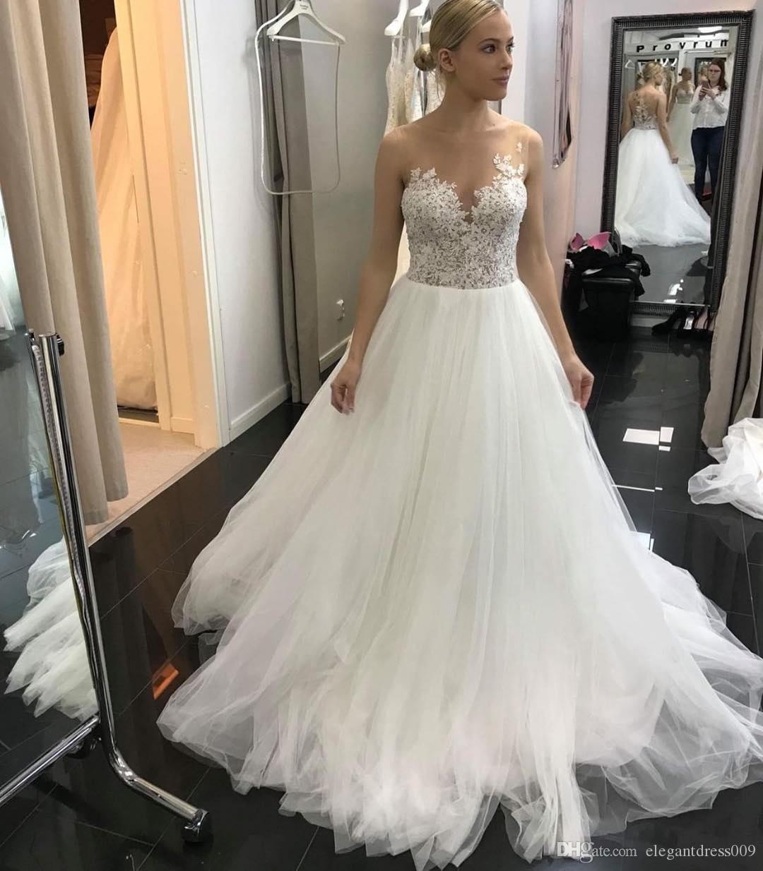 Sexy Romantic Boho Beach A Line Country Wedding Dresses Sheer Neck Lace Applique Illusion Back Sweep Train Wedding Dress Bridal Gowns