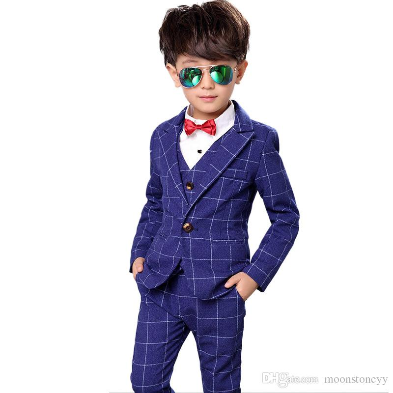 Flower Boys Plaid Formal Suit Kids Wedding Birthday Party Dress Blazer Vest Pants 3pcs Child Tuxedo Prom Performance Costume N40