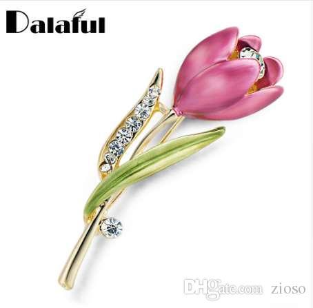 Elegante flor de tulipán Broche de cristal Bisutería de cristal Accesorios de vestir Broches de joyería Para la boda Z014