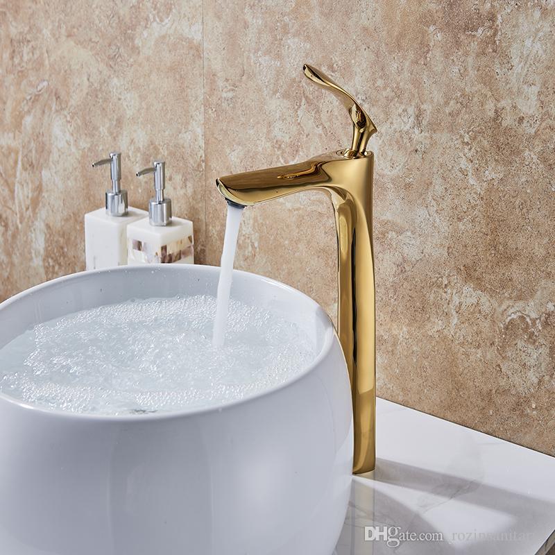 Grifería de lavabo Grifo de agua elegante Grifo mezclador Grifo del baño Calor caliente y frío Acabado del inodoro de latón Grifo de agua Oro-10325