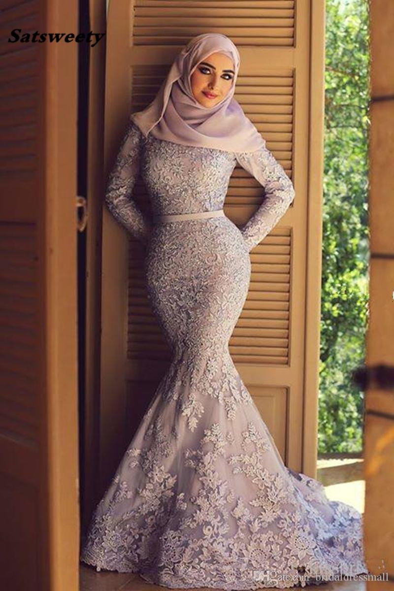 El vestido de noche de la bufanda azul islámica de los musulmanes vestidos de noche de la sirena de manga larga de encaje apliques de Dubai Arabia árabe elegante largo