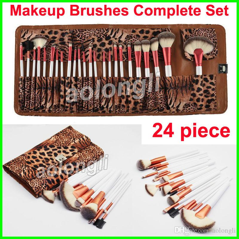 Makeup Brushes 24 piece Leopard Set Rose Gold Brush Face and Eye Brushes kit Eyeshadow Eyeliner Pencil Makeup Powder Foundation Brush