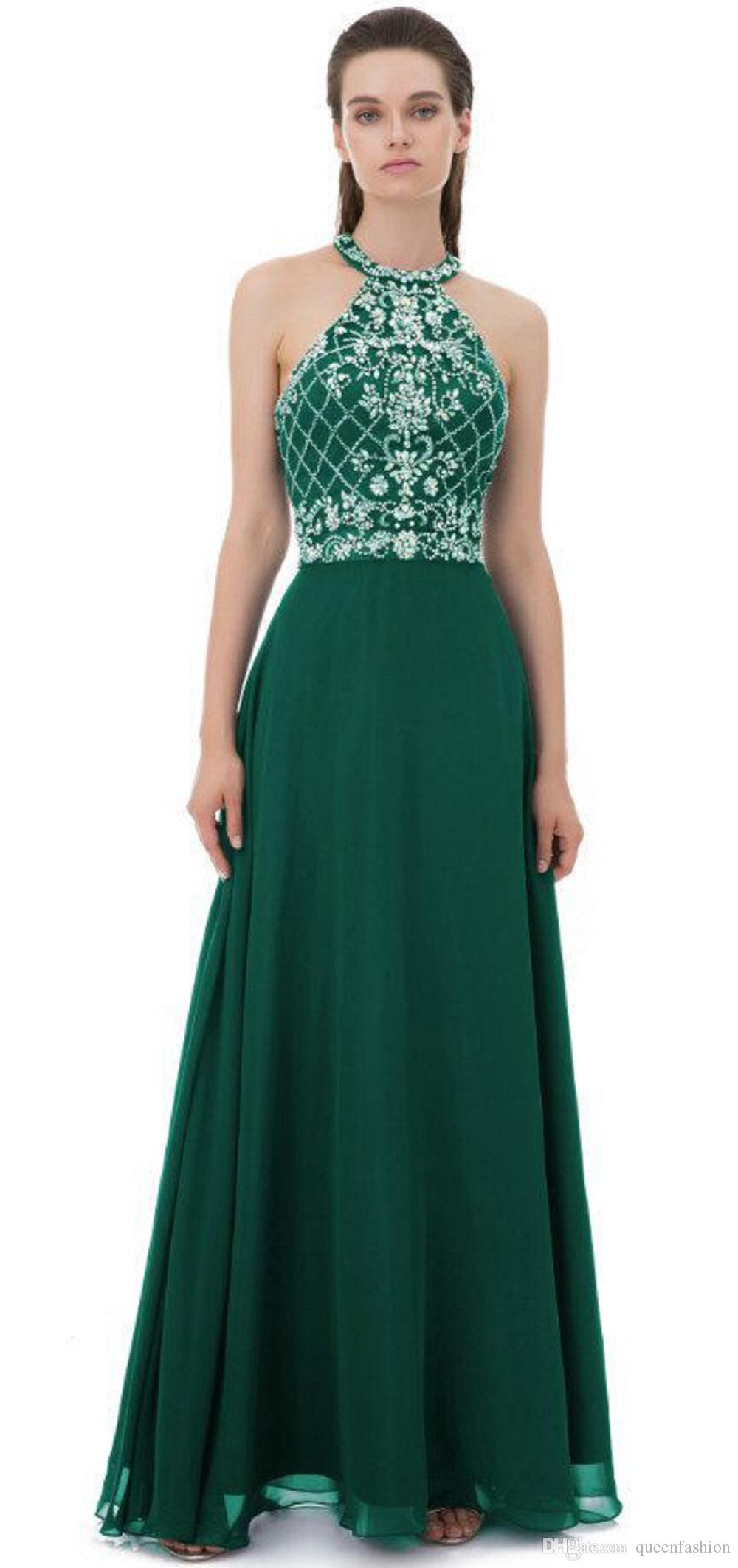 2021 Prom Dresses Long Maxi Halter Keyhole Back Formal Evening Dresses Crystal Backless Chiffon Graduation Party Gowns