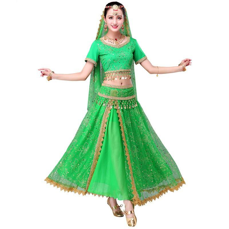2018 Sari Dancewear Women Belly Dance Clothing Set Indian Dance Costumes Bollywood Dress(Top+belt+skirt+veil+headpiece)