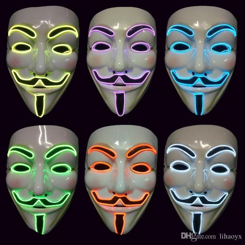 Vendetta EL fil Masque Clignotant Cosplay LED MASQUE Costume Anonyme Masque pour la danse rougeoyante Carnaval Party Masques c425