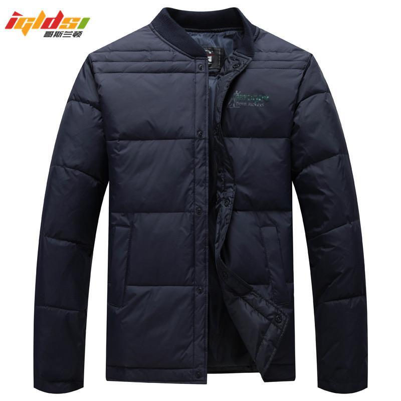 2018 Erkekler Kış Ceket% 80% Beyaz Ördek Aşağı Ceketler Erkekler Beyzbol Yaka Kapşonlu Ultra Hafif Aşağı Ceketler Sıcak Dış Giyim Coat Parkas L18101103
