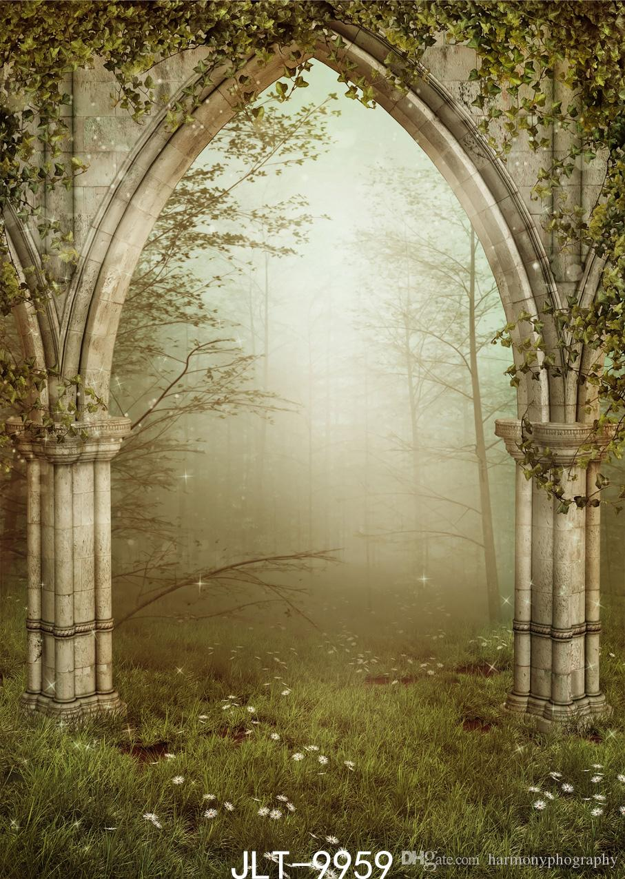 fantazja fotografia backdrops zielone portret drzwi lasy imprezowe zdjęcie tło winylowe tkaniny do photo studio photoshoot