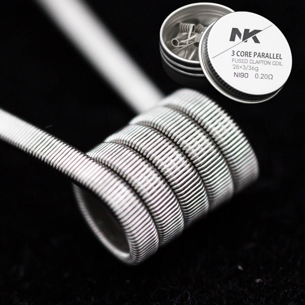 Ücretsiz Kargo NK ni90 3 çekirdek paralel clapton 28 * 3 / 36g önceden oluşturulmuş / premade vape ısıtma bobin teli resist