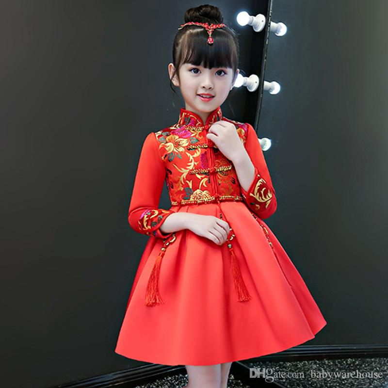 2019 New Year Girls Clothes Winter Princess Dress Children Red Wedding Cheongsam Traditional Chinese Style Flower Long Sleeve Girl Dresses