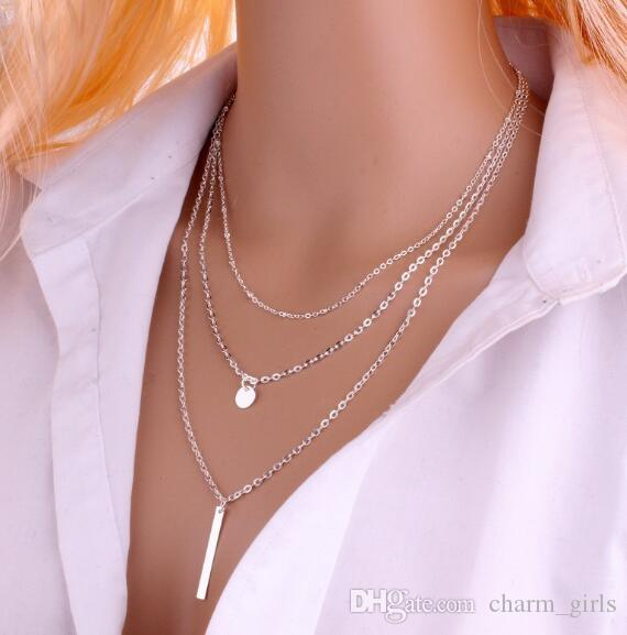 Hot style European and American jewelry sales new style copper beads chain sequins metal necklaces fashion classic delicate