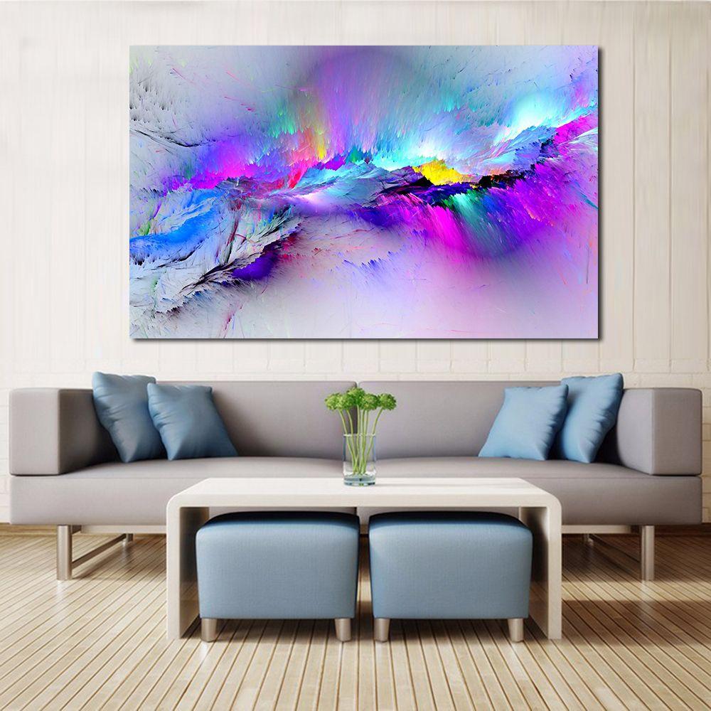 Jqhyart جدار غرفة المعيشة خلاصة النفط الطلاء الغيوم الملونة قماش الفن ديكور المنزل بدون إطار