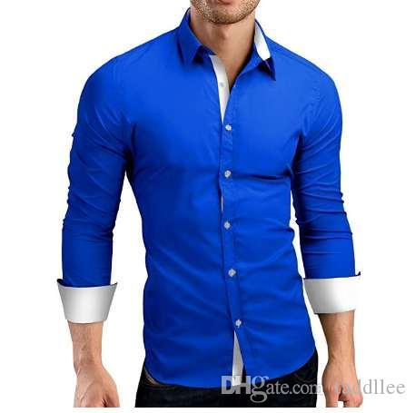 Camicia uomo marca 2018 Camicie maniche lunghe maschili di alta qualità Casual Hit Colore Slim Fit Camicia uomo nero Camicie 4XL C936