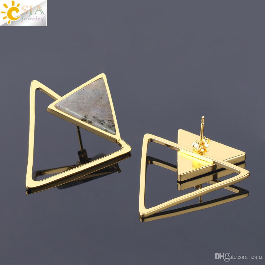 CSJA Women Triangle Stud Earrings Detachable Natural Stone Earring Gold Bezel Setting Fashion Punk Geometric Gem Jewellery Wholesale S226