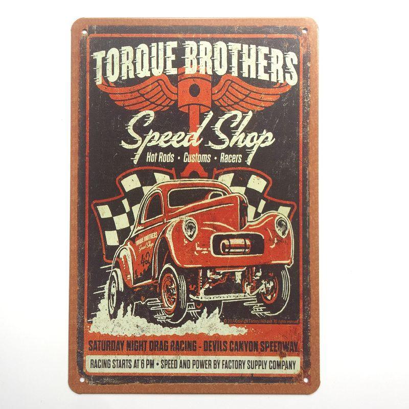 Torque Brothers Speed Shop car garage metal sign room wall art US Seller