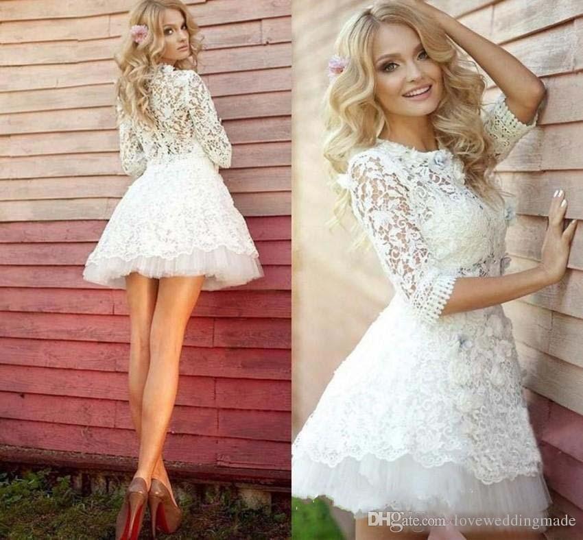 Compre Vestidos Elegante Blanco De Cuello Alto De Encaje Apliques Cortos Vestidos De Fiesta Hecho A La Medida De Manga Larga Barato A 8041 Del