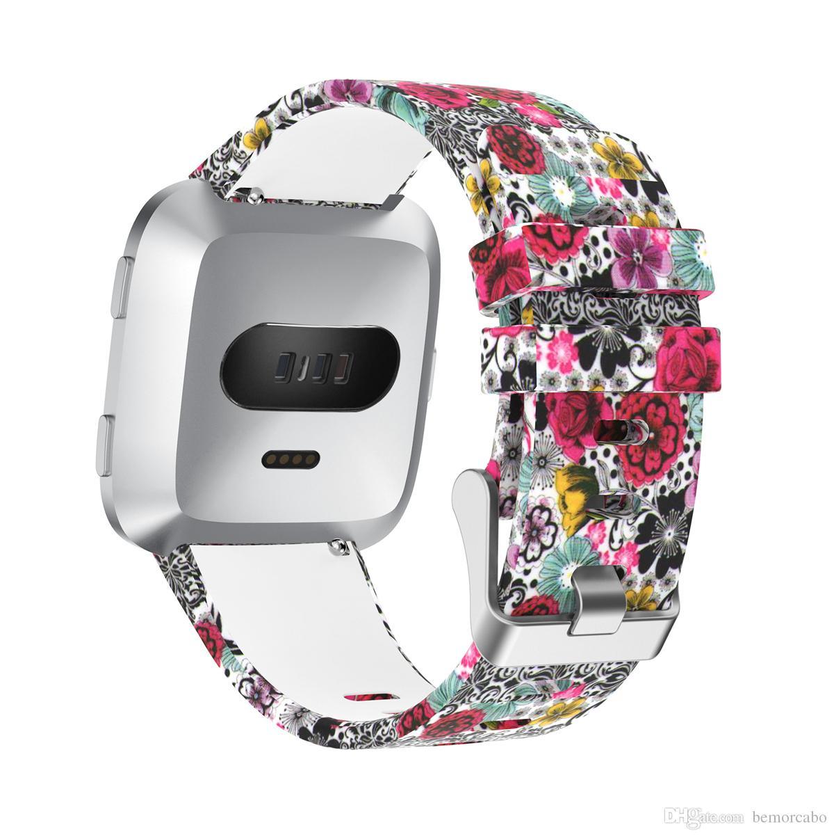 для полос Fibtbit Versa, замена печатных Мягкий силиконовый Спортивный ремешок браслет ремешок для 2018 Fitbit Versa смарт-часы, малый размер