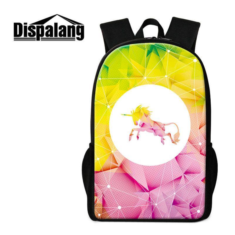 3D Printing Unicorn Middle School Students Backpacks Fantastic Animal Schoolbags Mochila Escolar Girls Bookbags Women's Travel Shoulder Bags