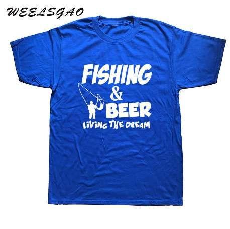 WEELSGAO Fashion Summer T-Shirt Pescatore Birra Pesce Volante Idee regalo divertenti Maglietta T shirt