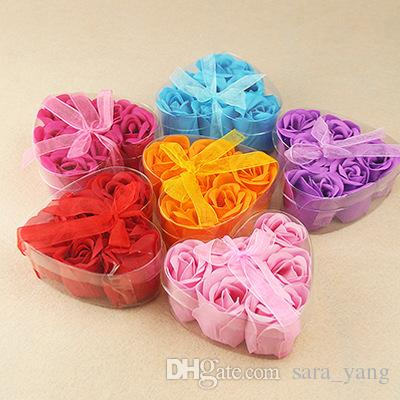 600pcs Hot sale High Quality Mix Colors Heart-Shaped Rose Soap Flower For Romantic Bath Soap Valentine's Gift lin4356