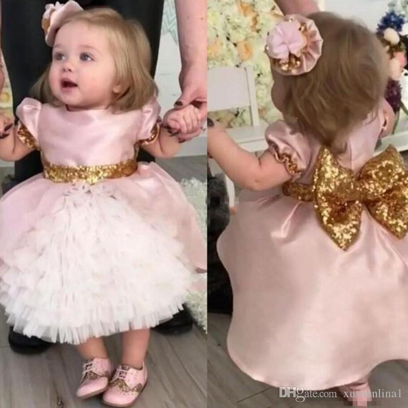 Baby-Pink Toddler Flower Girls Dresses Short Sleeve Chic Bow Gold Sequins First Communication Dresses Tiered Tea Length Birthday Party Gown