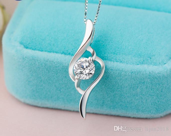 925 SterlingSilver Fashion Twist Cross CZ Gem Crystal Pendant Necklace 