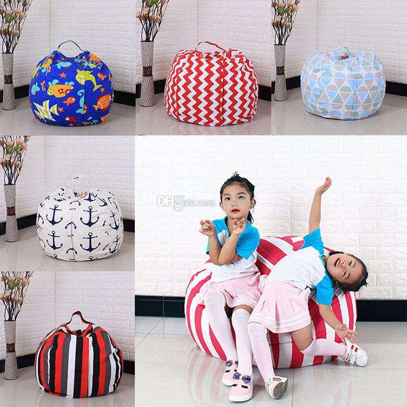45cm Kids Storage Bean Bags Plush Toys Beanbag Chair Bedroom Stuffed Room Mats Portable Clothes Storage Bag 32 Color Free Ship WX9-169