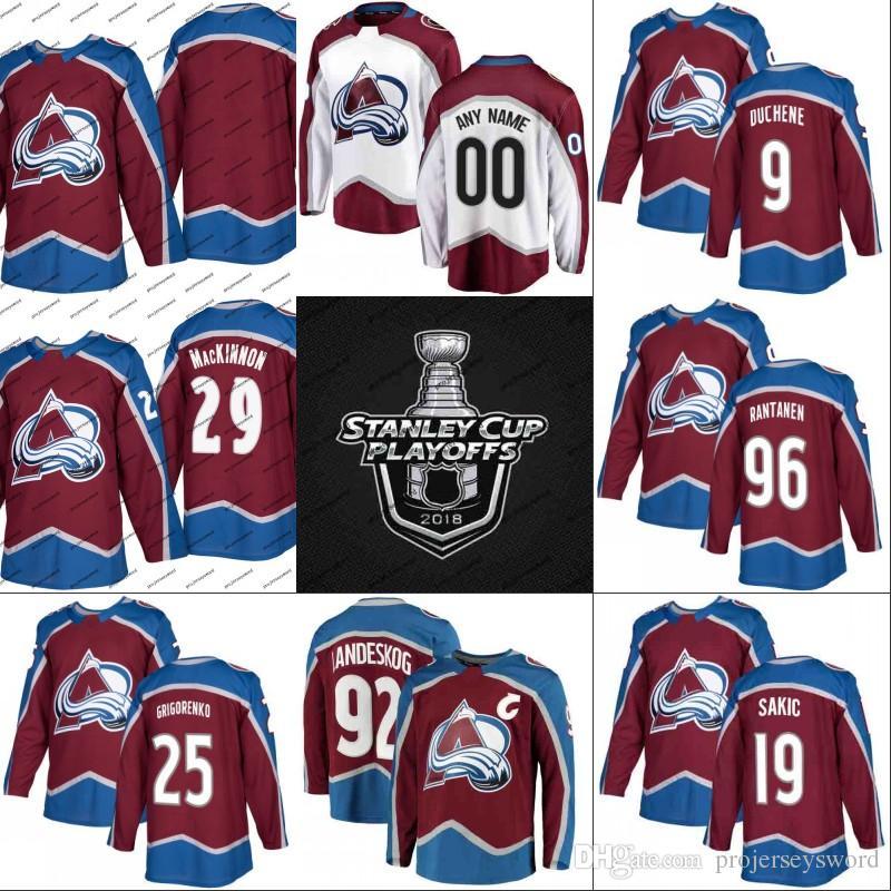 Colorado Avalanche 2018 Stanley Cup Playoffs-Trikot 9 Matt Duchene 29 Nathan MacKinnon 92 Gabriel Landeskog 96 Mikko Rantanen Eishockey-Trikots