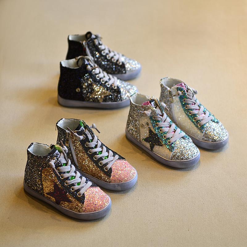 2018 Enfants Garçon Marque Glitter High Top Sneaker Bébé Fille Fashion Trainer Toddler Pu En Cuir Paillettes Chaussure