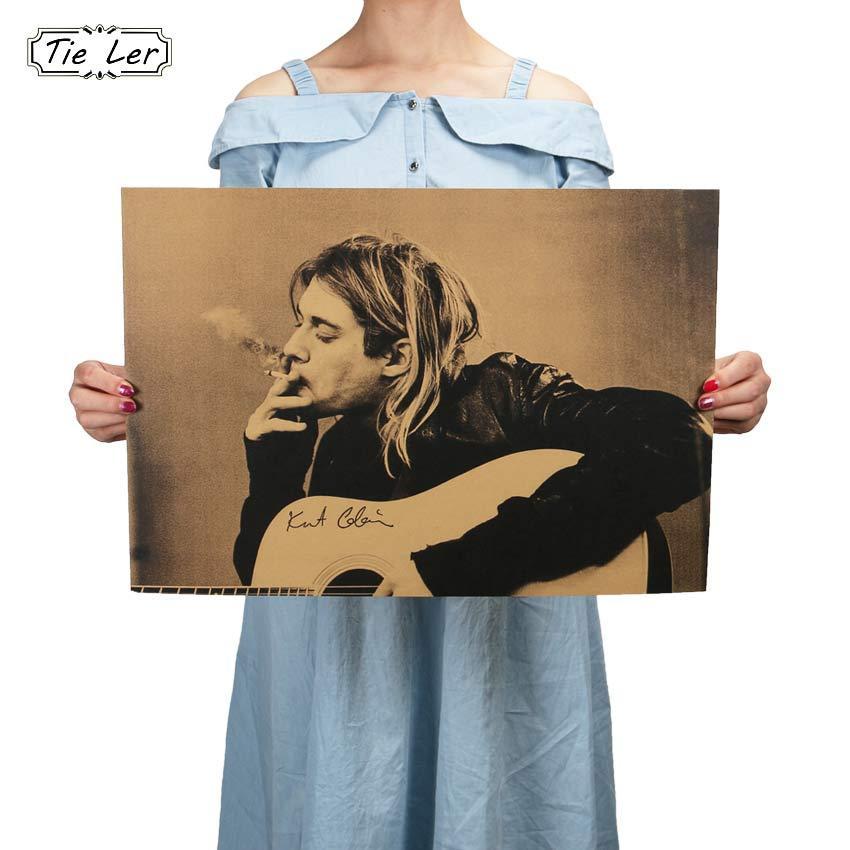 Kurt Cobain Nirvana Frontman Rock Poster Kraft Paper Cafe Bar Poster Retro Poster Wall Sticker