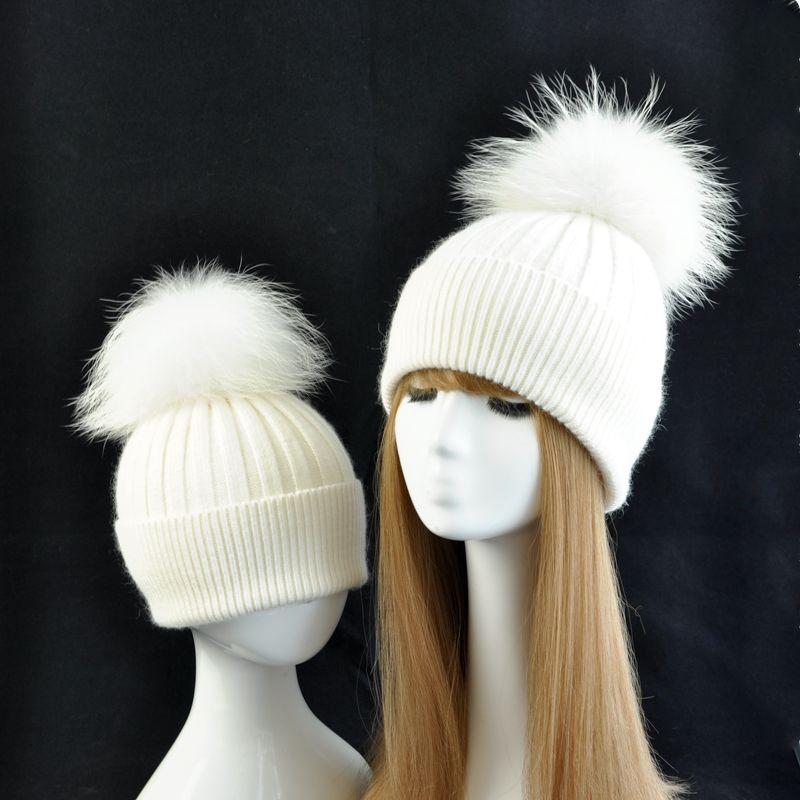 Real Fur Pompom Hat for Mom Baby Hats Winter Women Boy Girls Warm Caps Kids Cute Striped Knit Beanie Parental Suit Winter Hat