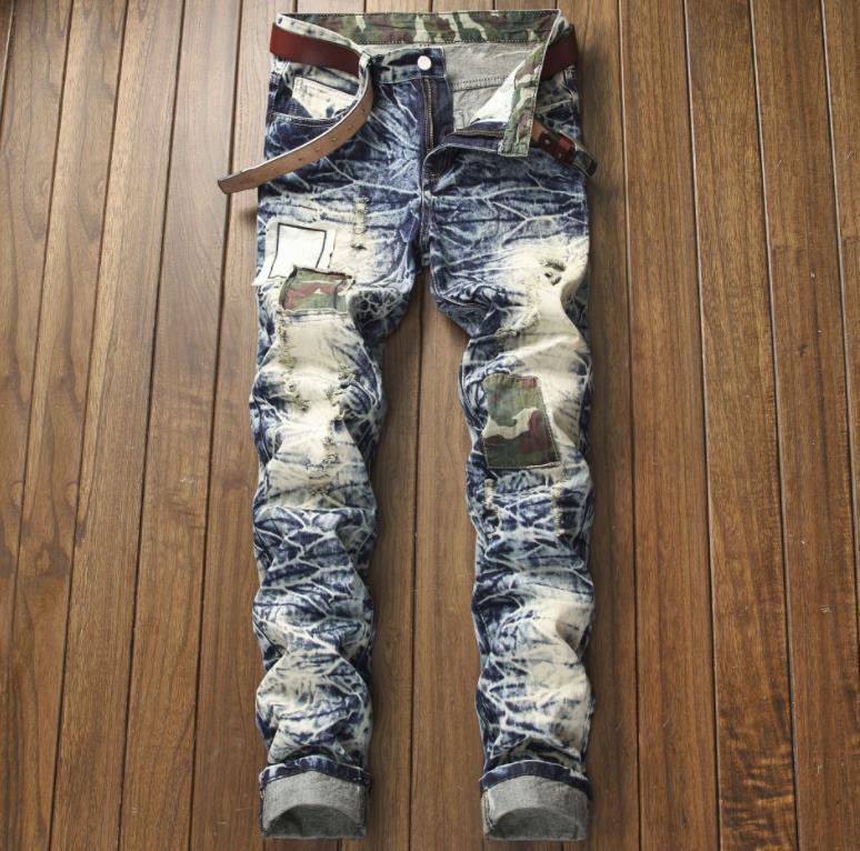Patch uomo camuffamento distrutto cotone denim denim jeans patch strappati pantaloni slim fit