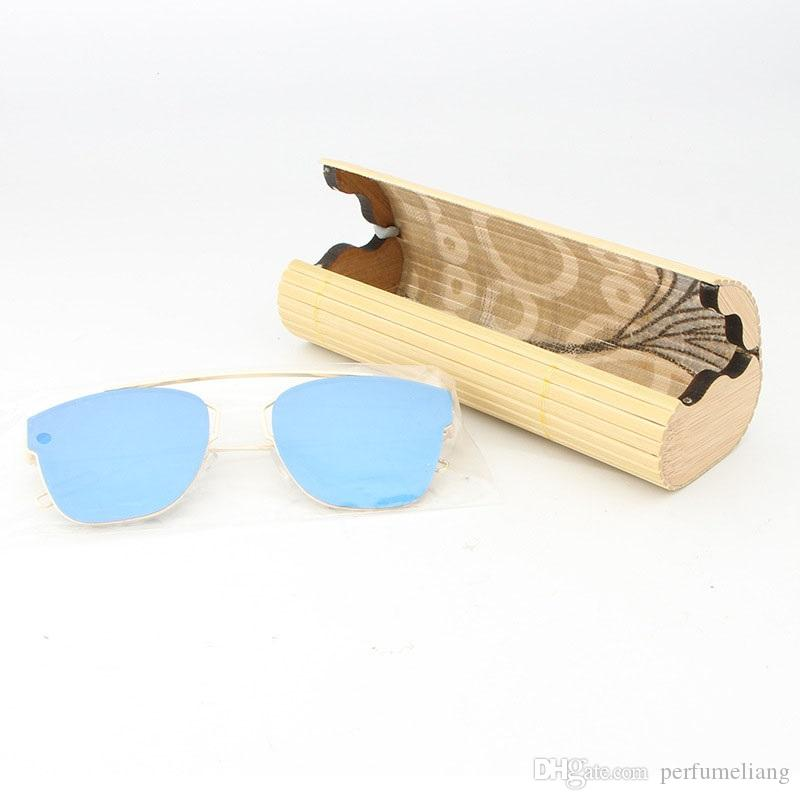 Óculos de sol de bambu natural Envio Armazenamento artesanal caixa vintage óculos mulheres óculos para presentes case homens grátis qw8428 lhaoe