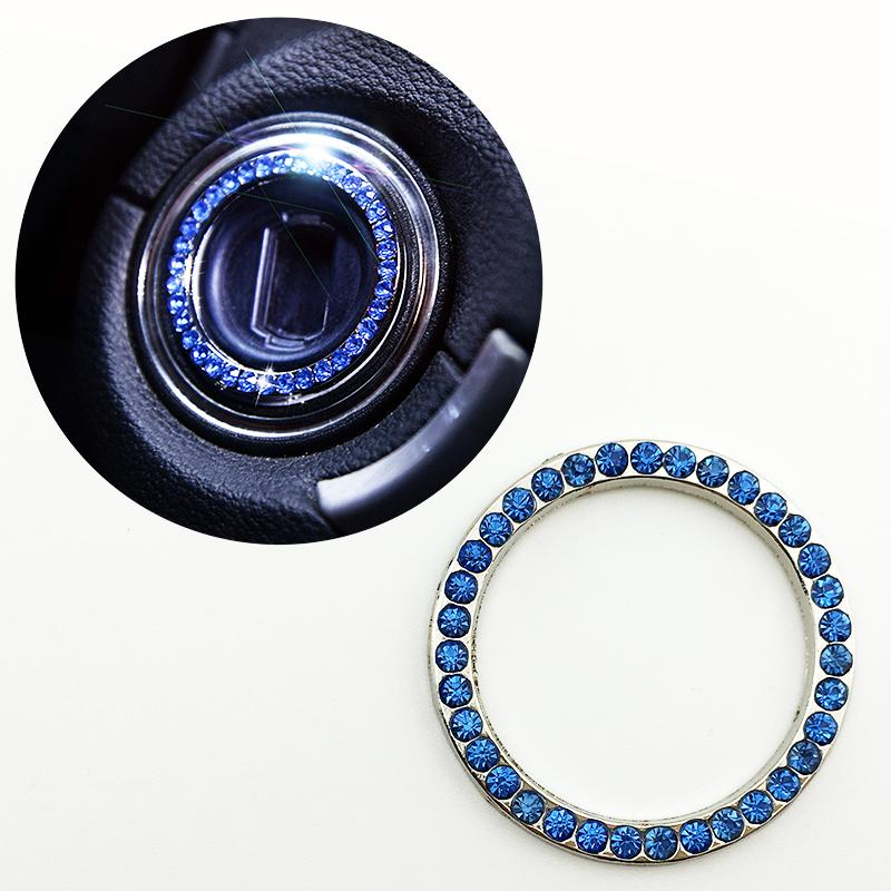 Car Veihcle Inner Accessories One-Key Engine Start Stop Push Button Cover Ignition Ring Trim Decoration Part Blue Color