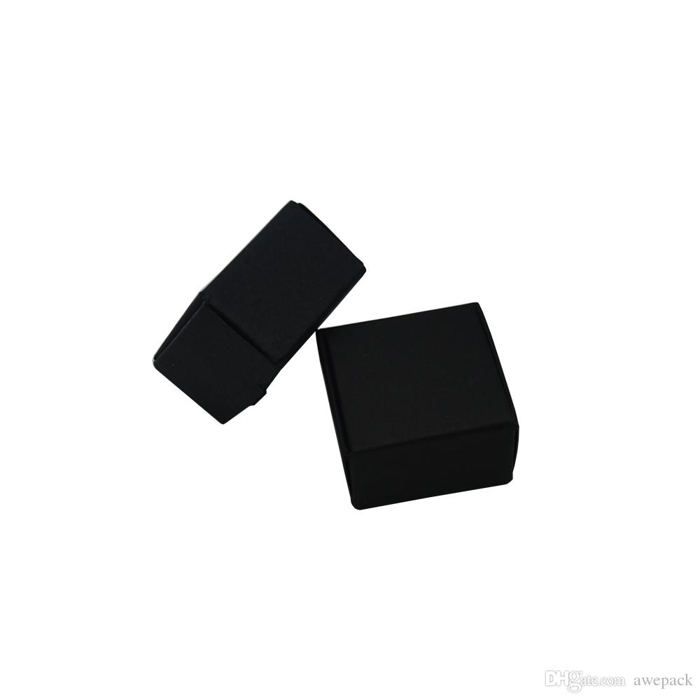 4*4*2.5cm Small Black Kraft Paper Box 50pcs/lot Gift Package Boxes Wholesale Jewelry Pearl Party Chocolate Packing Decoration Paper Box