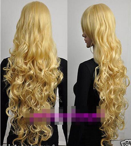 Envío gratis +++ Nuevo Cosplay largo rizado oro luz peluca rubia