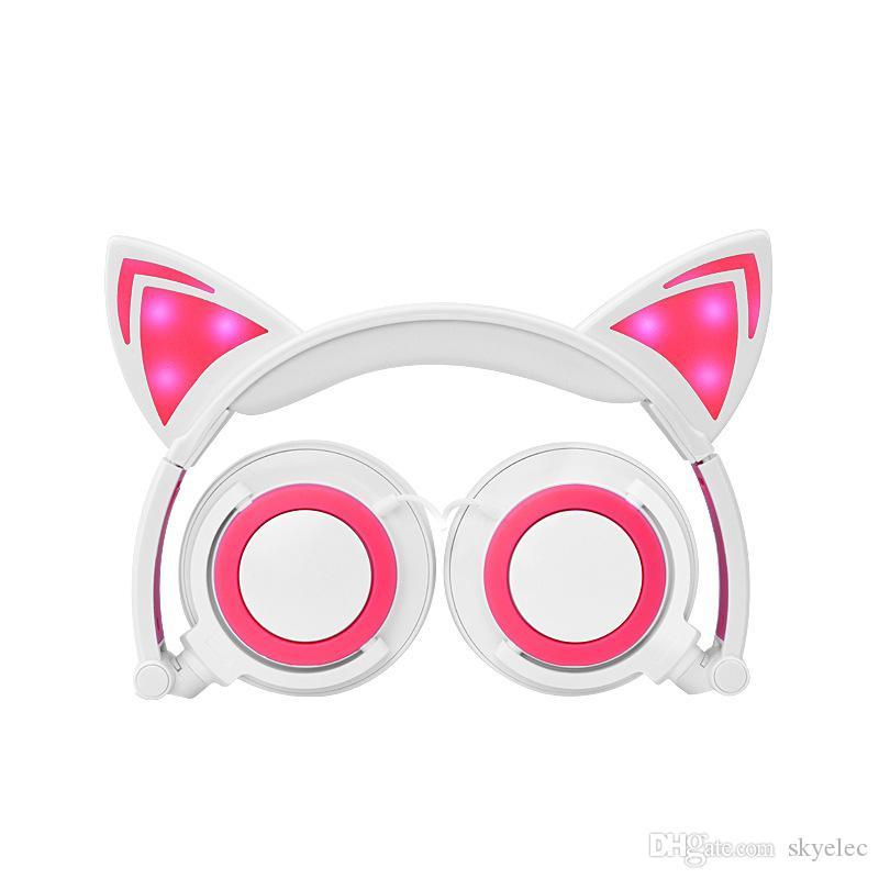 Casque Pour Enfants Dessin Animé Chat Oreilles Head-Mounted Luminous Pliable Mobile Téléphone Musique Casque Pour Les Enfants Cadeau