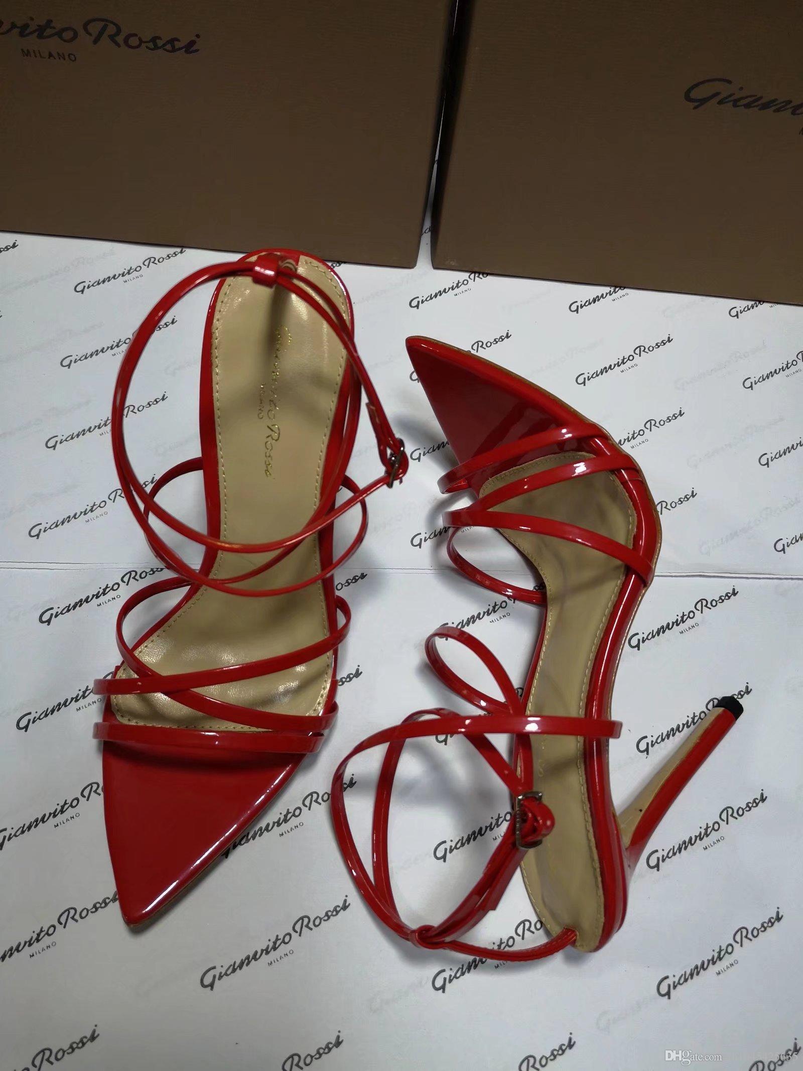 Red Black Sliver Shiny Women Stiletto con tacco alto Summer Dress Wedding Party Sandali Scarpe 2018 Criss Cross Strappy 10cm Heels Sandali Romani