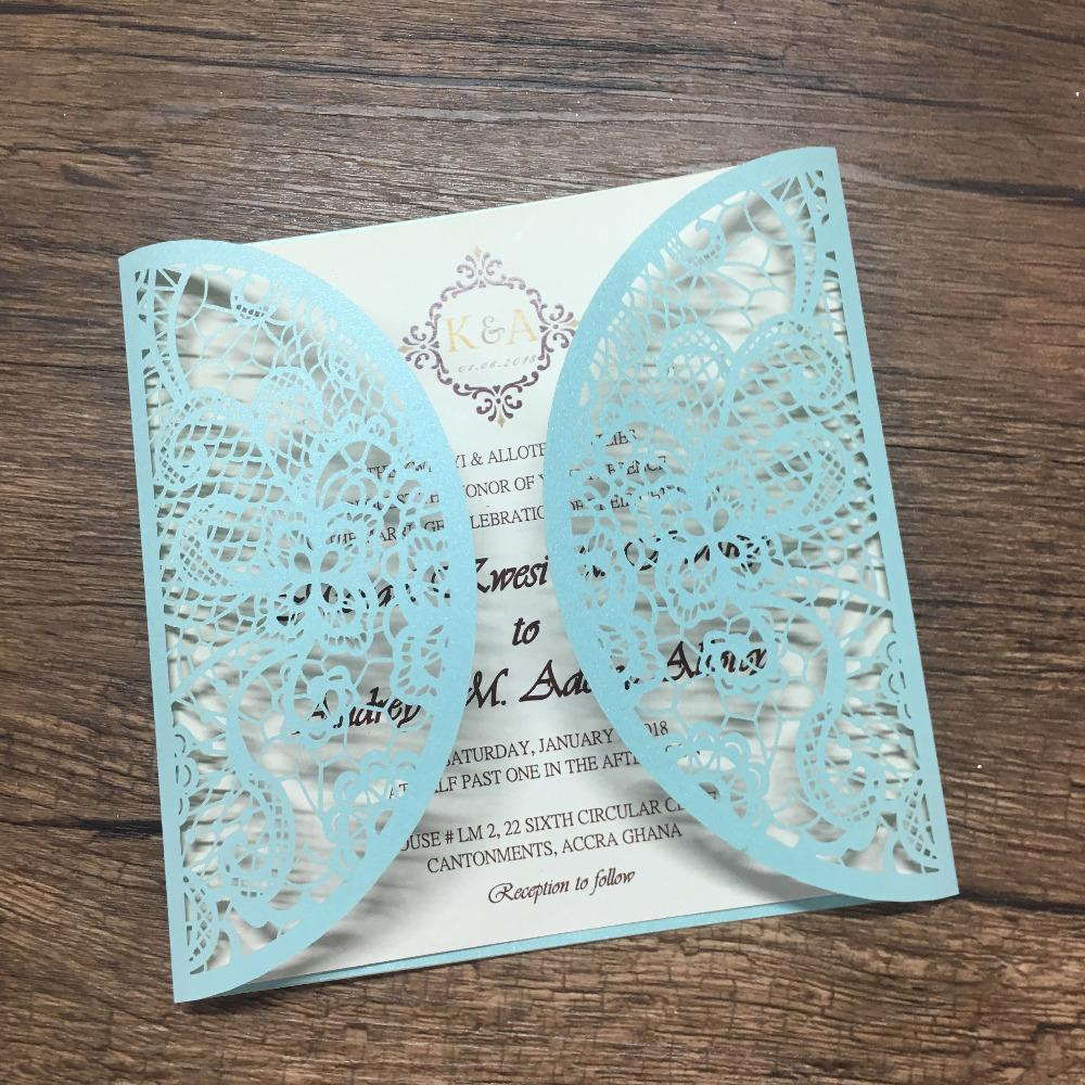 best sell white and blue beautiful printing laser cut invitation card wedding gift paper invitations for sale