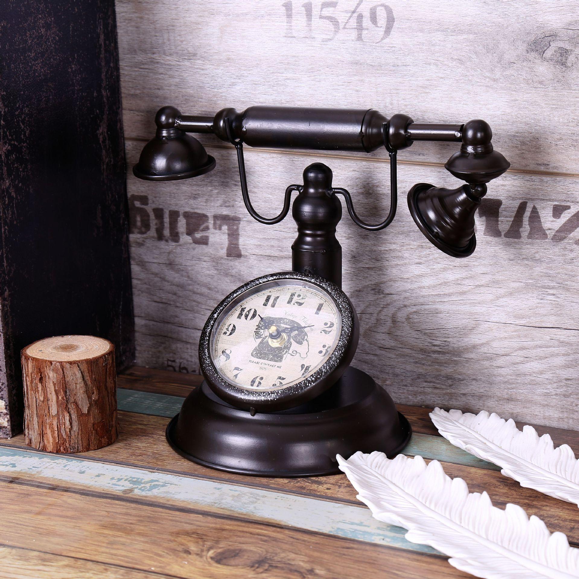 Shabby Chic Retro Telephone Model Vintage Decor Retro Desk Clock Table Clock Bar Cafe Crafts Decoration