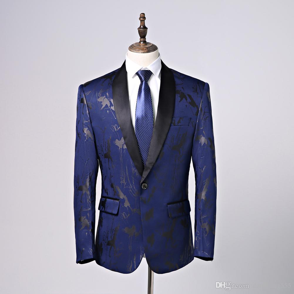 Elegant Dark Blue Men Suits Shawl Collar Slim Fit Suits One Button 2 Pieces Suits(Jacket+Pants) for Wedding Tuxedos