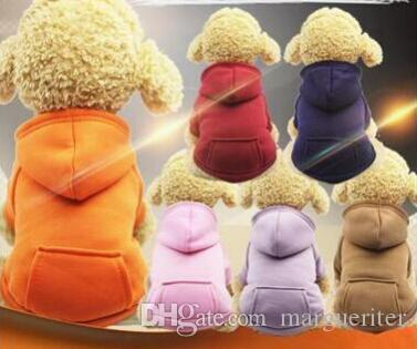 Pet Dog Winter Warm Coat Dog Pocket Hoodie Dog Jacket Puppy Teddy Pure Color Cotton Clothes Costumes