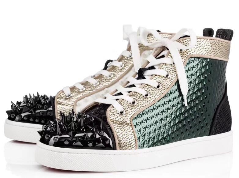 Eleganti appartamenti Uomo Donna Spikes Toe con fondo stampato in pelle Low Top Red Bottom Sneakers, Brand Design Lovers Casual Flat Walking Shoes