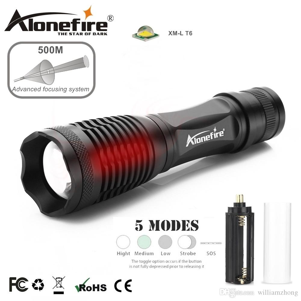 AloneFire E007 LED Flashlight High powe CREE XML T6 5000LM Waterproof Zoom Tactical zaklamp Torch light Dry cell 18650 Rechargeable Battery
