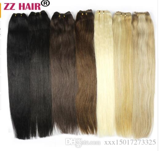 """100g/pcs 16""""-24"""" Machine Made Remy Hair Weft Weaving 100% Human Hair Extensions Straight Natural Silk Non-clips Hairs"""