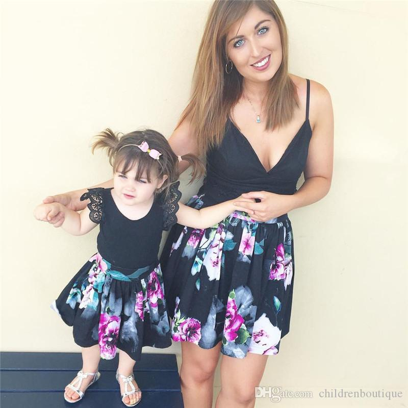 Mother And Daughter Clothes Mommy And Me Matching Family Outfits Women Black Condole Belt Sleeveless T Shirt + Dress 2PCS Sets Family Look