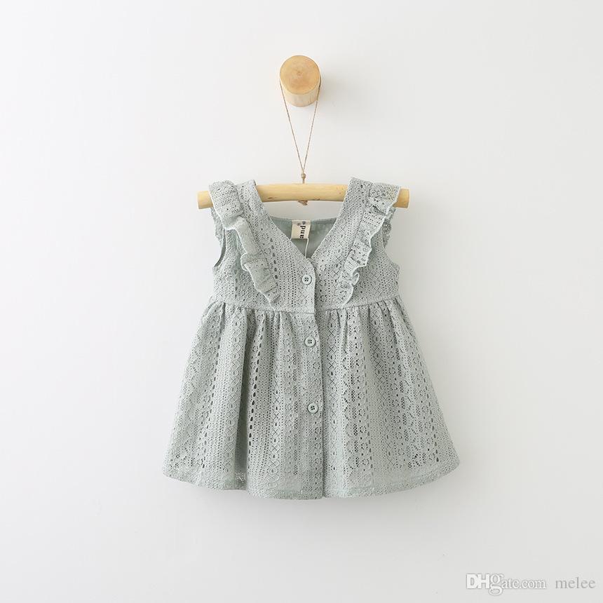 Ins yaz kızlar dantel yelek elbiseler çocuk flouncing pamuk elbiseler kızlar Tek göğüslü hollow out parti elbiseler 3 renkler ücretsiz gemi seçin