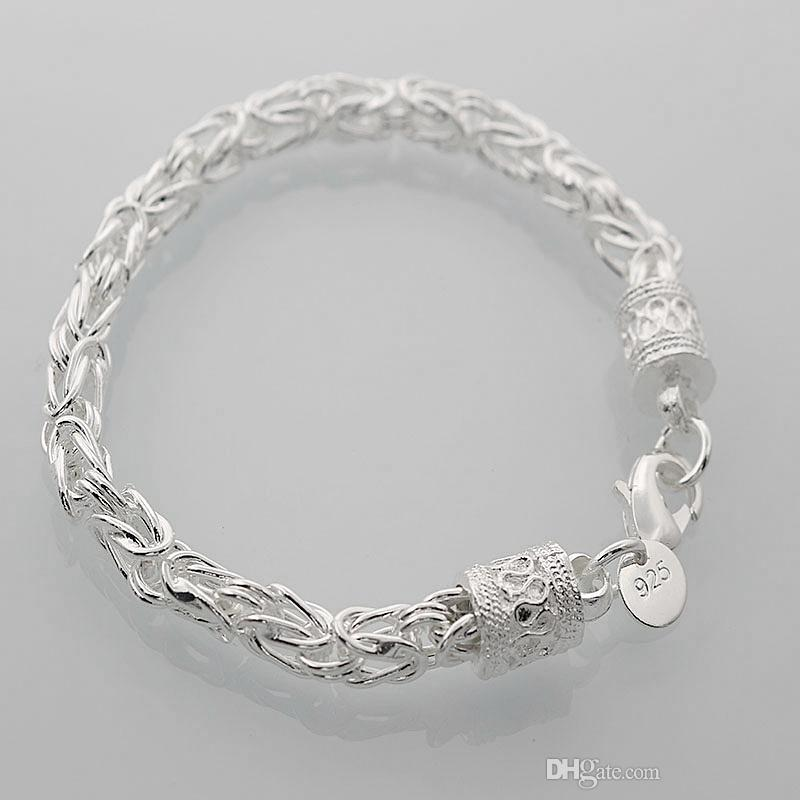 925 Sterling Silver Bracelet for Women Men,925 Silver Fashion Jewelry 8inch Dragon Chain Bracelet Italy 2018 Hot New Arrival Xmas Gift AH96