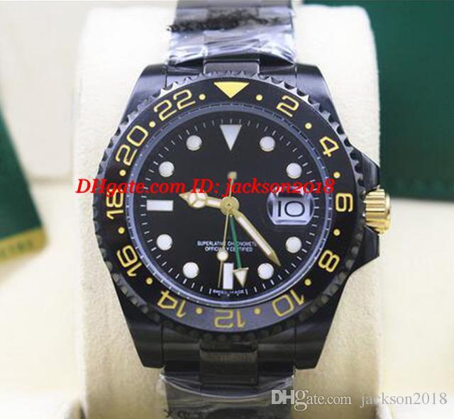Reloj de pulsera de lujo negro II KingsLife 40mm bisel de cerámica 116710 en DLC PVD mecánico automático relojes de los hombres de calidad superior