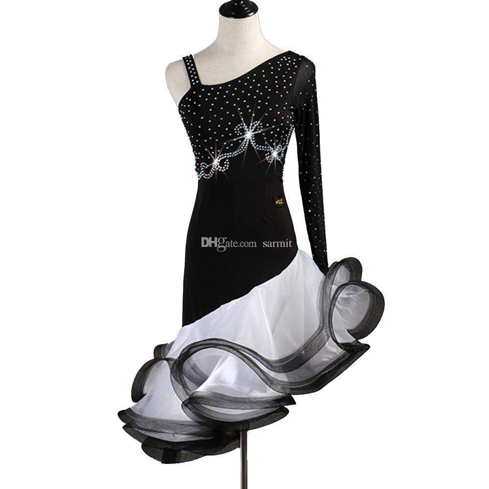 Latin Dance Dress Women Girls Latin Salsa Dance Competition Dresses Samba Costumes D0510 Black Fluffy Hem Rhinestones Long Sleeve