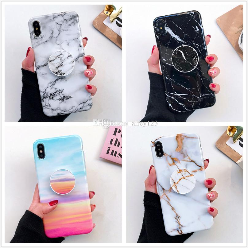 Soft TPU Cover Phone Holder Stand Marble Case for iPhone 12 mini 11 Pro XS Max XR X 6 6S 7 8 Plus